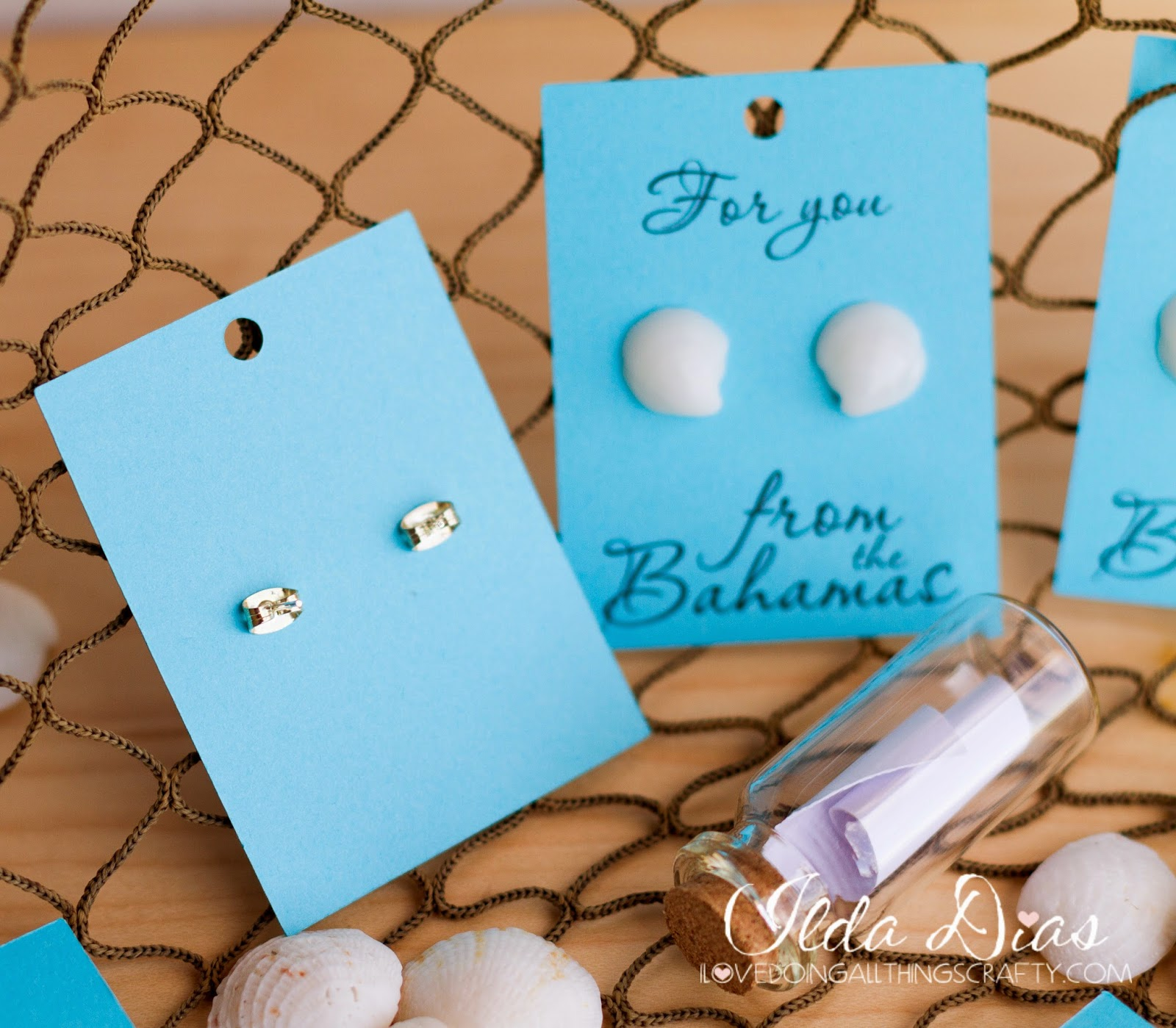 DIY Seashell Earrings + FREE Silhouette Studio Earring Card File