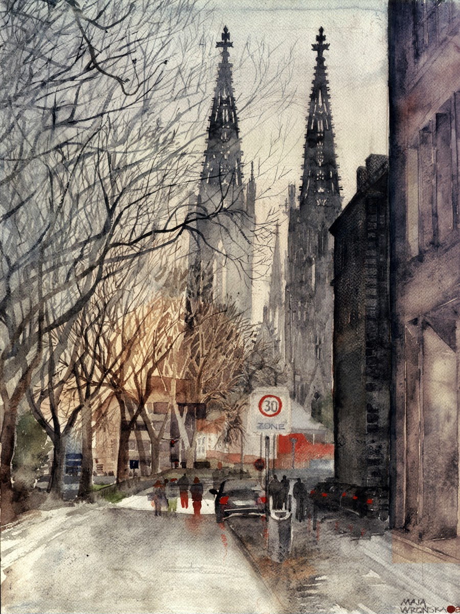 08-Cologne-Maja-Wronska-Travels-Architecture-Paintings-www-designstack-co