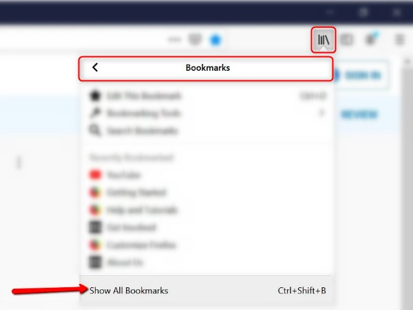 how to export bookmarks from firefox-Show all bookmarks