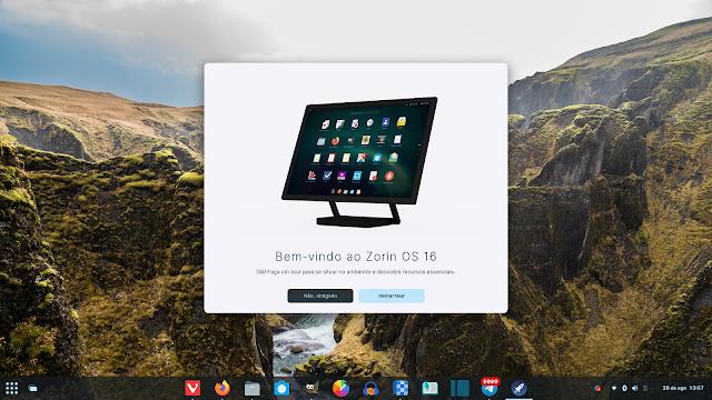 Tela de boas vindas do Zorin OS 16 e a possibilidade de customizar o sistema