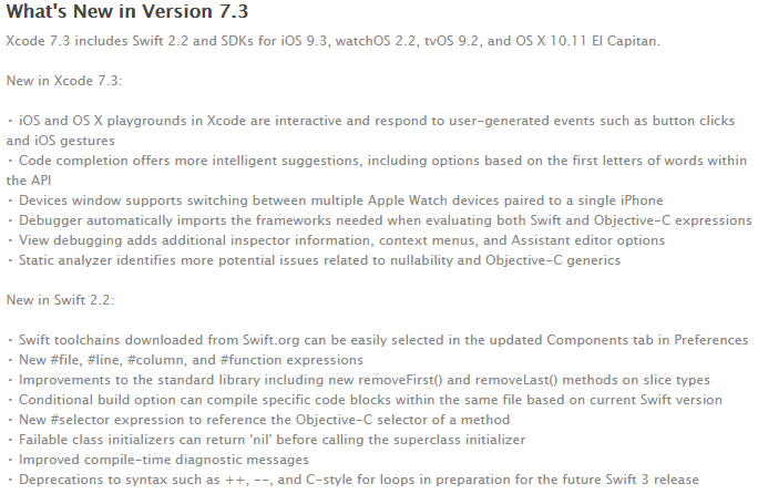 Xcode 7.3 Features and Changelog