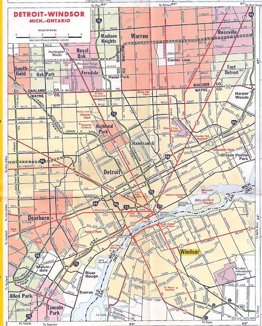mapa Detroit - USA