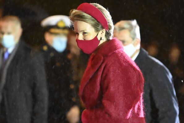 Queen Mathilde wore a new hairy mohair jacket and wool crepe dress from Natan. Crown Princess Elisabeth, Princess Eleonore