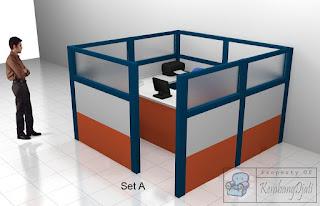 Meja Sekat Kantor Meja Kubikel Kantor Bongkar Pasang Kirim Seluruh Indonesia - Cubicle Workstation