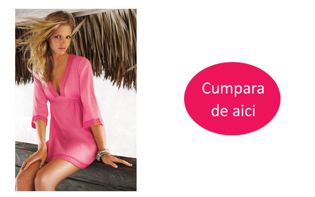 Rochie de plaja eleganta roz ieftina model 2016