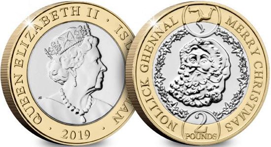 Isle of Man bimetallic 2 pounds 2019 Father Christmas