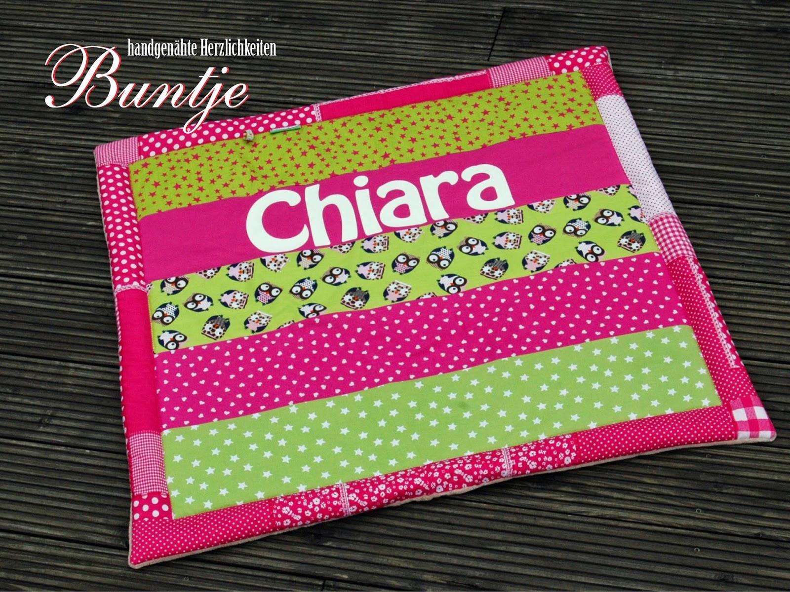 Krabbeldecke Decke Baby Name Geburt Mädchen Geschenk Taufe Chiara pink grün Eulen Buntje