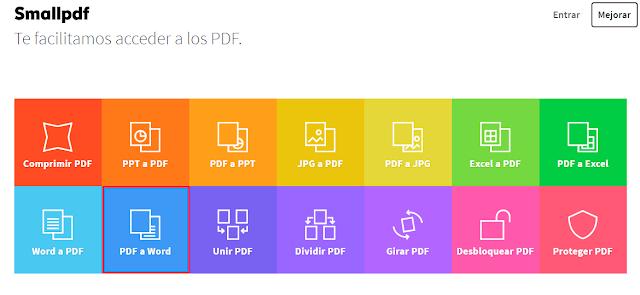 página para convertir archivos PDF