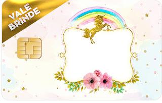 Tarjeta con forma de Visa de Fiesta de Unicornios.