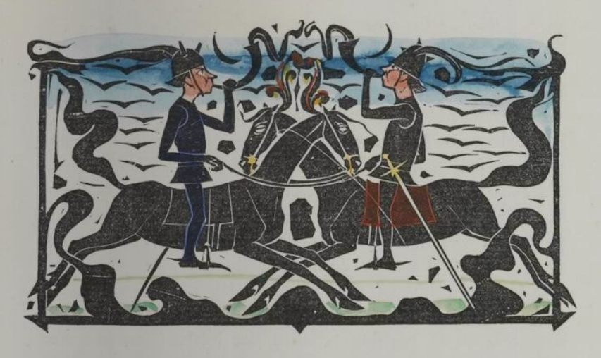 woodcut of 2 horn-blowing men on horses