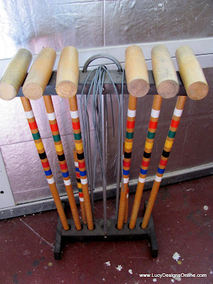 croquet mallet recycled art