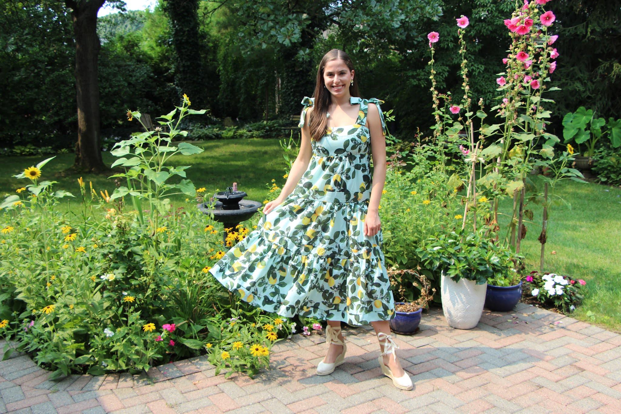 chicwish, espadrilles, lemon print, maxi dress, tie straps