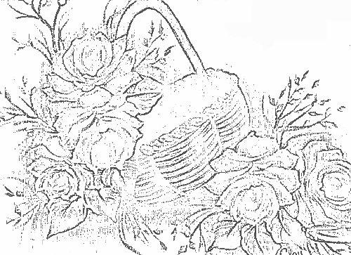Pintura em tecido risco cesta de rosas