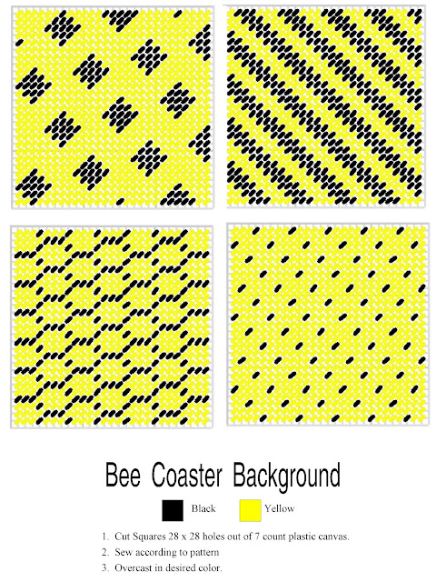 Plastic Canvas Bumble Bee Coaster Pattern by DIYPartyMom
