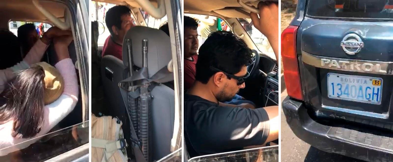 Personas portando armas de grueso calibre en un vehículo con placa asignada como