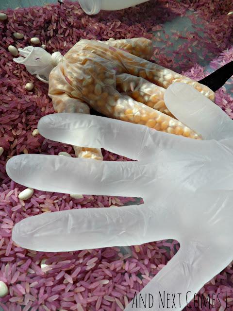 Close up of sensory gloves in the Gruffalo sensory bin