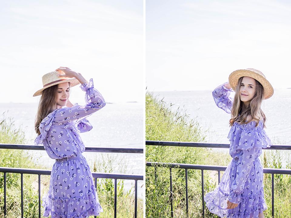 Lilac floral summer dress with ruffle detail - Liila kukallinen röyhelömekko, kesämuoti