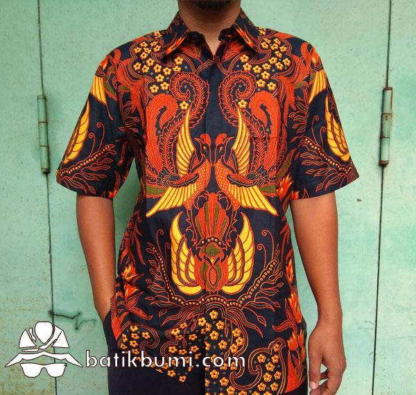 Kemeja Batik Sogan Klasik  Motif Peksi Kembar
