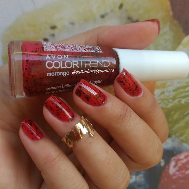 esmalte morango avon color trend efeito pontilhado