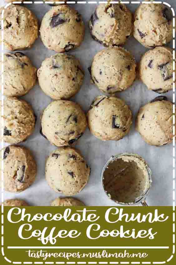 Whats better than a chocolate chip cookie? A chocolate chip cookie with coffee inside! Treat yourself to one or 6 of these! #chocolatechunk #coffee #cookie