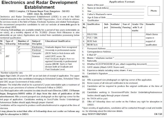 DRDO-LRDE Recruitment 2020 JRF – 10 Posts www.drdo.gov.in Last Date Within 21 days