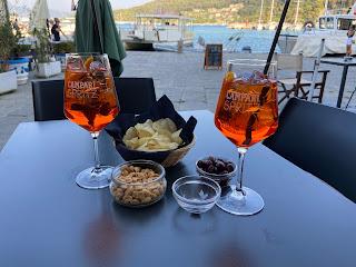 Two glasses with Spritz on Calata Doria in Porto Venere