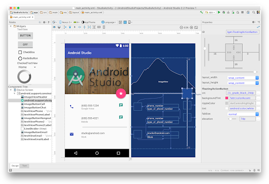 Android Studio 2.2 Preview - New UI Designer & Constraint Layout