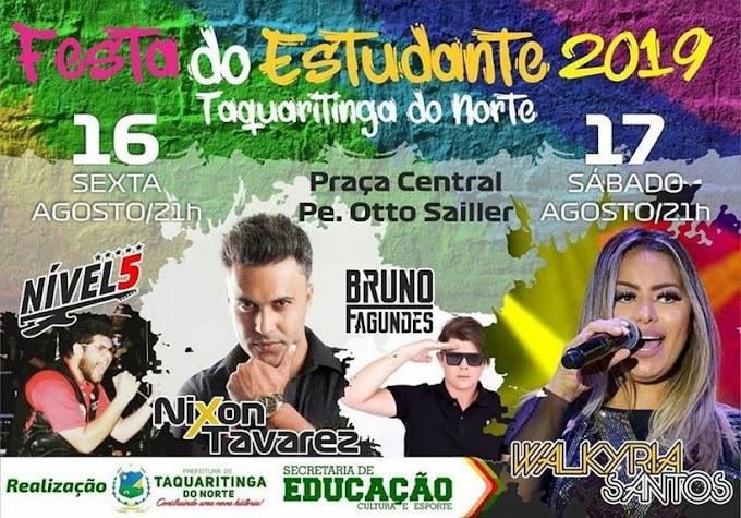 Confira a programação da Festa do Estudante em Taquaritinga do Norte