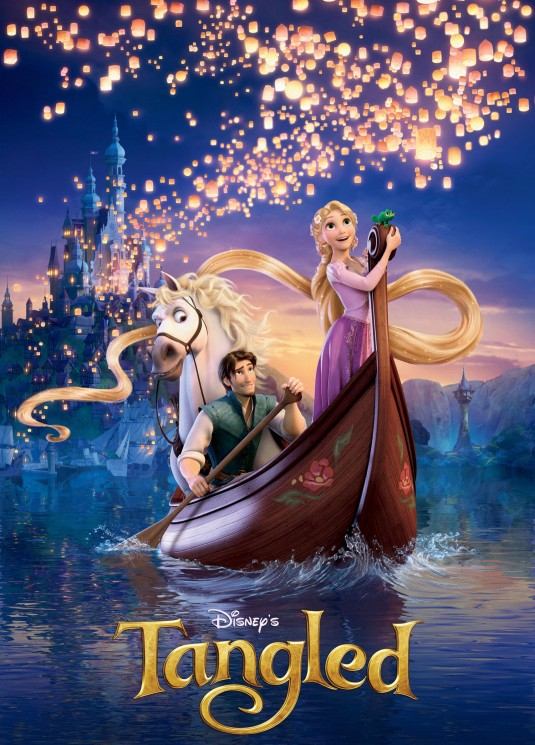 Rapunzel, wide-eyed as paper lanterns flood the night sky above, standing in boat rowed by Flynn with castle and setting sun behind them