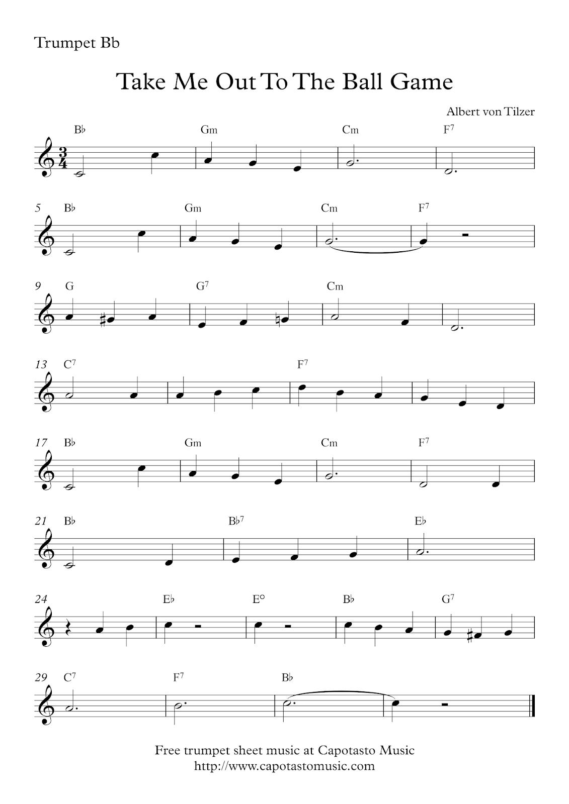 Free Printable Sheet Music Free Trumpet Sheet Music Take Me Out To The Ball Game