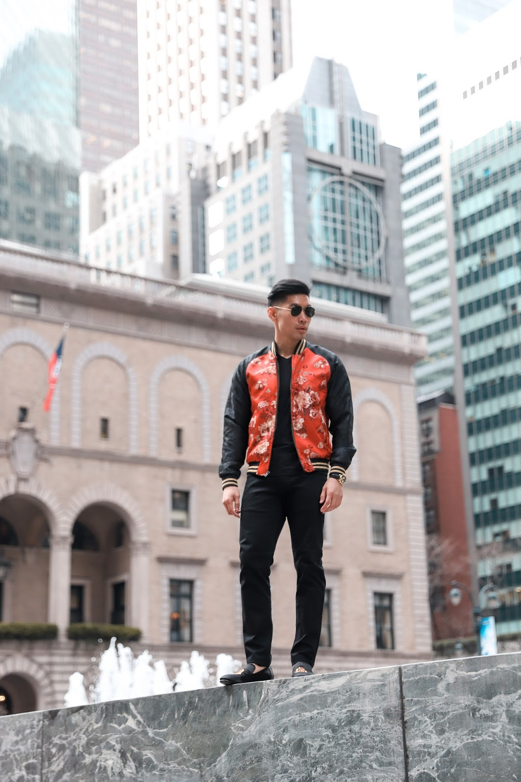 Wearing a Floral Embroidered Bomber Jacket and Smoking Loafers | Levitate Style