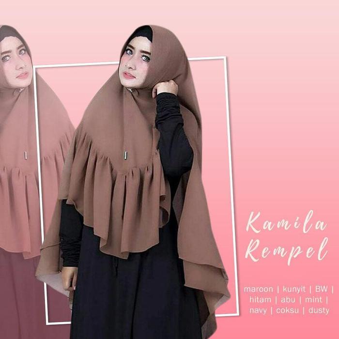 Kerudung Syari Khimar Kamila Remple Double Layer Terbaru Premium