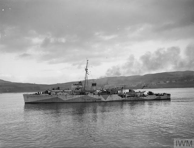 HMS Black Swan, damaged on 24 August 1941 worldwartwo.filminspector.com