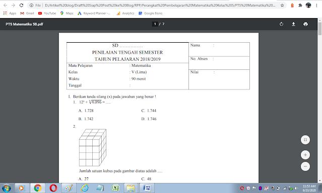 Download soal uts matematika kelas 5 semester 2 kurikulum 2013 dan kunci jawaban