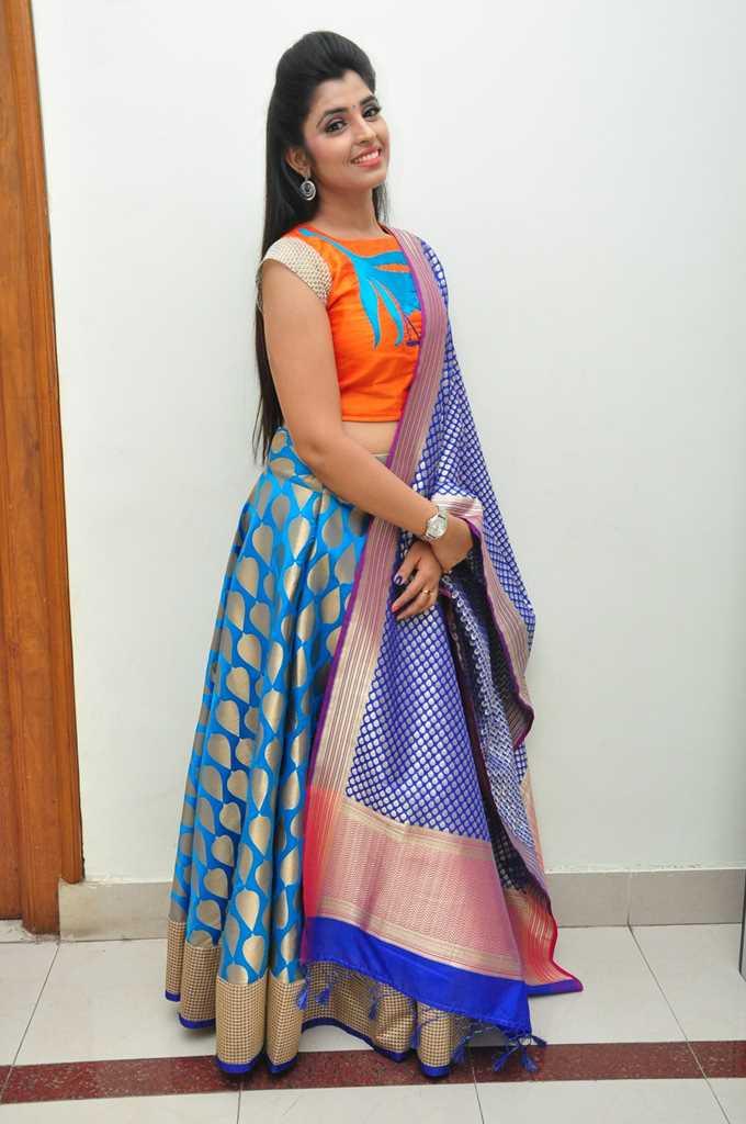 Tv Anchor Shyamala Stills At Birthday Celebrations In Blue Half Saree