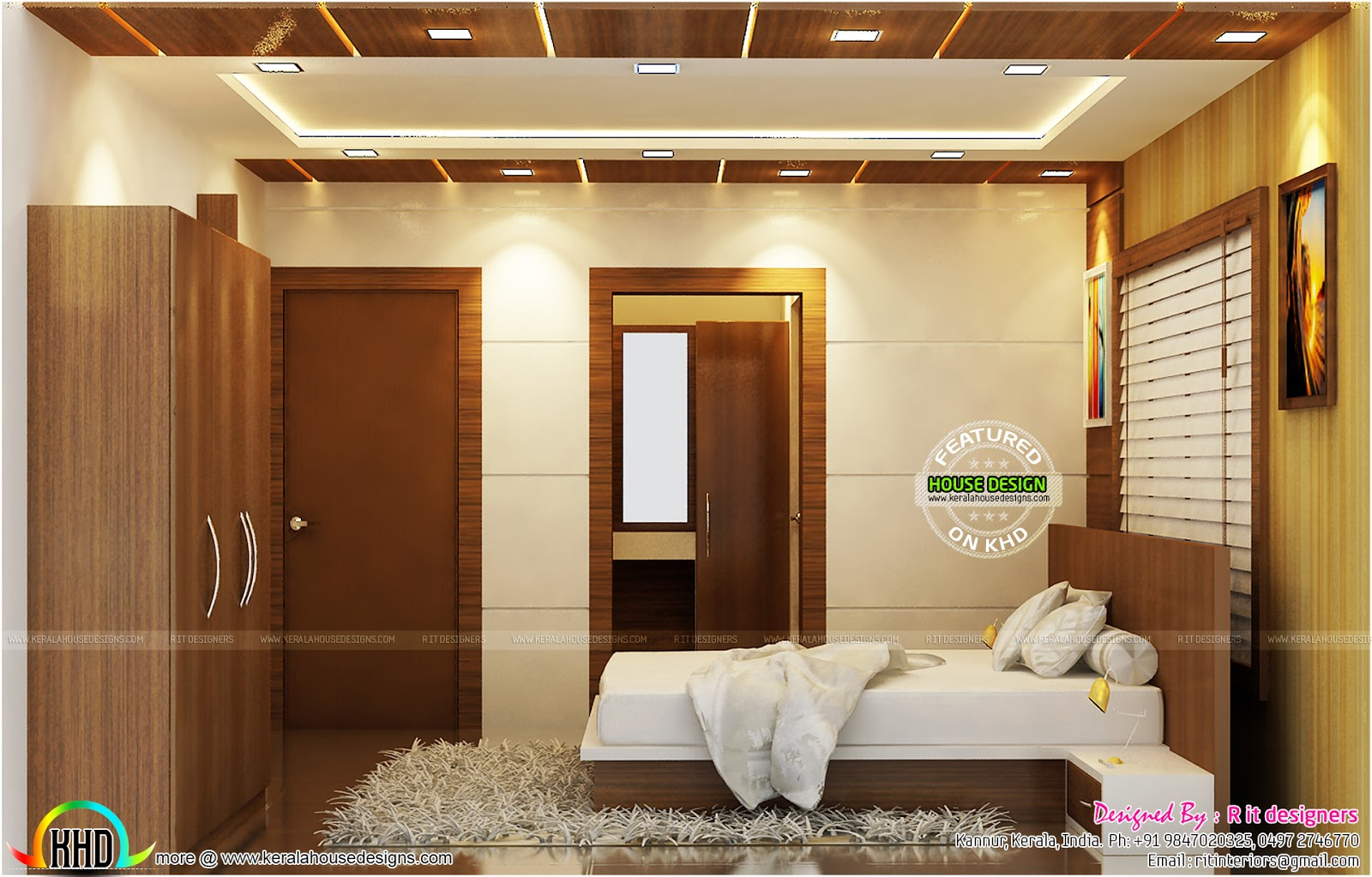 Kitchen, Bedroom and Dining interiors - Kerala home design ...