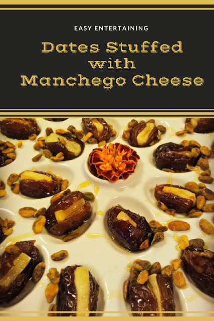 Easy and Quick Appetizer that is perfect for fall with Dates and Manchego Cheesetopped with Pistachios and Honey. #Entertaining #Appetizers #ManchegoCheese