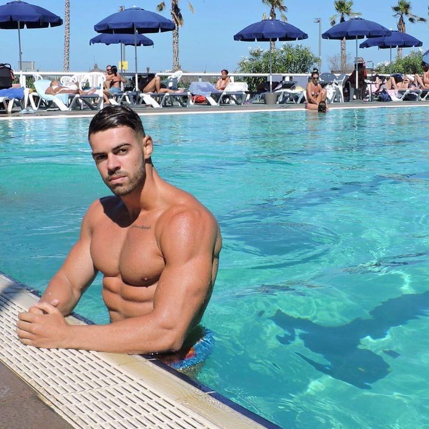 wet-shirtless-body-muscular-dude-swimming-beautiful-blue-pool-hunk-summer