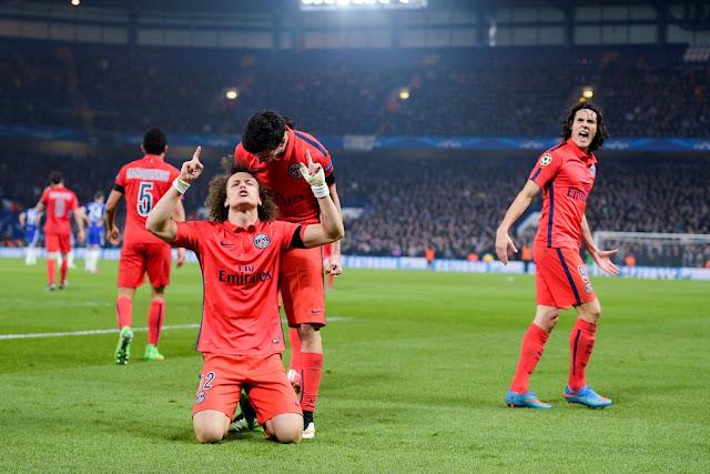 David Luiz célébrant un but lors du 8ème de finale retour l'an dernier à Chelsea