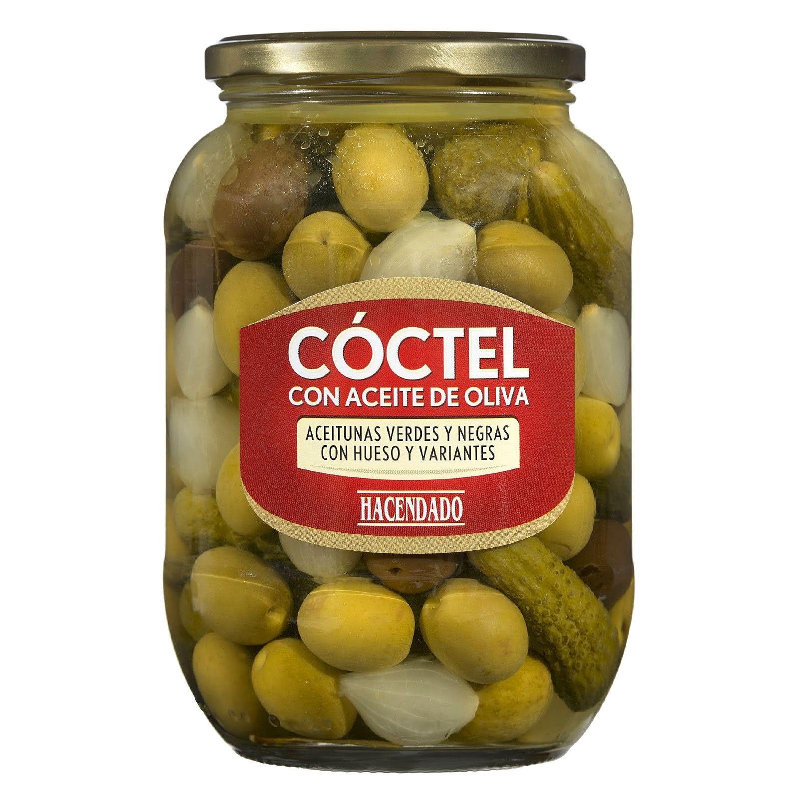 Cóctel con aceite de oliva de aceitunas verdes y negras con hueso y variantes Hacendado
