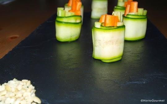 Rollitos de calabacín zanahoria y pepino Hortogourmet