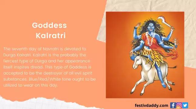 Goddess Kalratri Navratri Seventh Day of Color