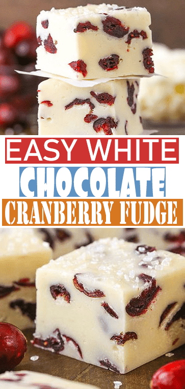 Easy White #Chocolate #Cranberry Fudge