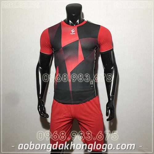 Áo bóng đá ko logo Egan CaC màu đỏ đen