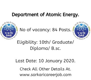 Department of Atomic Energy Recruitment 2020 latest government job vacancies.