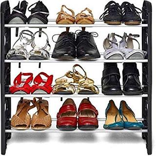 KPM™ Stack-able Black Shoe Rack Organizer - Online Trade DD