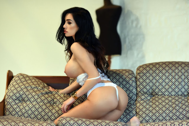 Ann Denise White Lingerie sexy ass naked tits