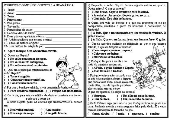 Professora Lúcia Martinelli: PROJETO PINÓQUIO