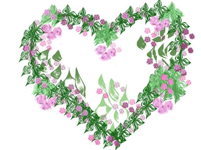 Un corazón de primavera verde y malva | Corazones inventados