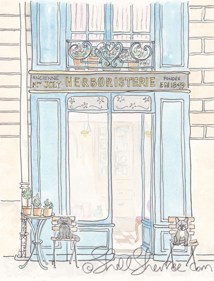 Paris illustration, Herboristerie in Paris © Shell Sherree